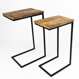 Fém lábas design asztal, fa lappal, enyhén sérült
