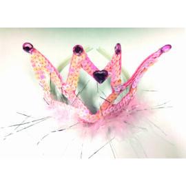 Flitteres boás korona-hajráf fehér/rózsaszín