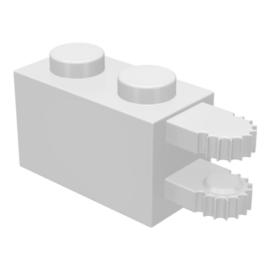 LEGO 1 x 2 fehér forgópánt 2 ujjú, horizontális