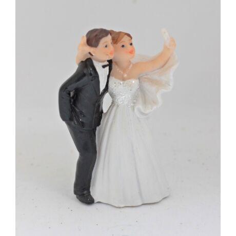 """Esküvői pár """" selfie"""" tortadísz"""
