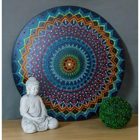 Pont festéssel készült Mandala, akril 1x1 méter fali fakép