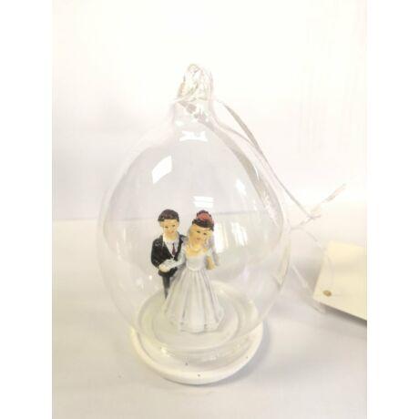 Esküvői pár üvegburában, felakasztható