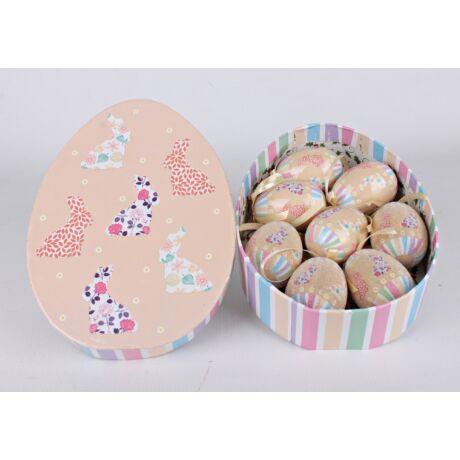 Dekoráció 8 db tojás barna nyuszis dobozban