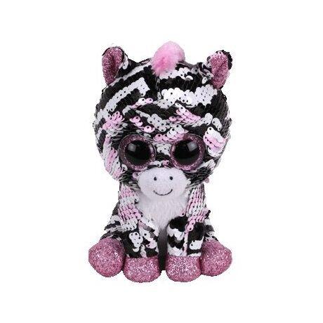 BOOS Flippables plüss figura Zoey 15 cm flitteres rózsaszín zebra