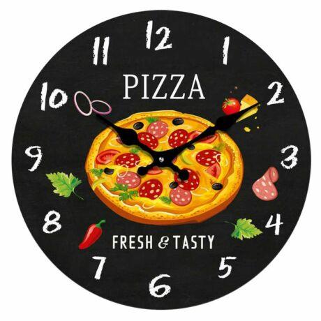 Kör alakú pizza mintás fali óra, 30cm