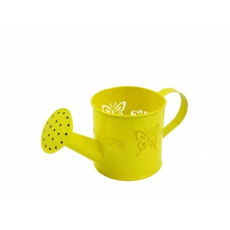 Bádog öntözőkanna kaspó sárga pillangós 19x8,5cm