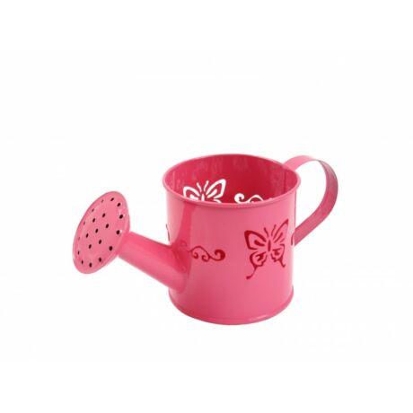 Bádog öntözőkanna kaspó pink pillangós 19x9cm