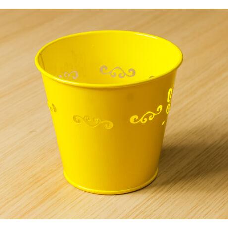 Fém virág kaspó sárga színben