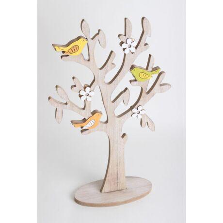 Szines madaras fa dekoráció, 30x14cm