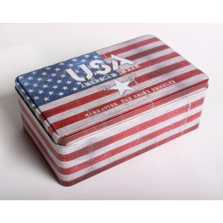Fém Téglalap USA feliratos doboz