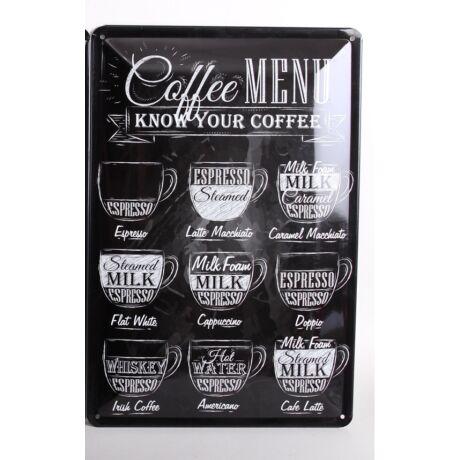 """Fém tábla """" Coffee menü"""""""
