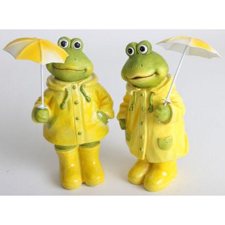 Dekoráció Esőkabátos béka esernyővel, kicsi