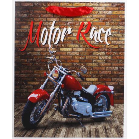 Moto Race mintás papírtáska, 26x32cm