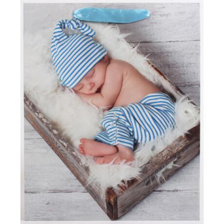 Fiú baba mintás papírtáska, kék