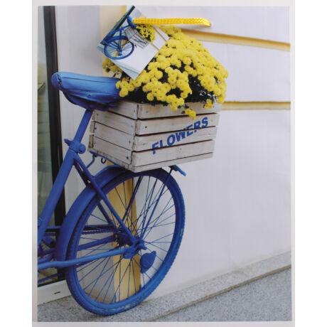 Kék bicikli mintás papírtáska