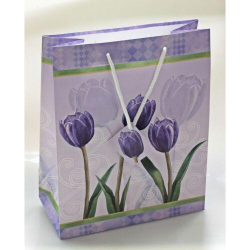 Papírtáska lila tulipán