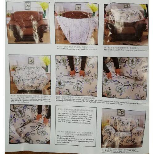 2 személyes ülőgarnitúra takaró, virág mintás