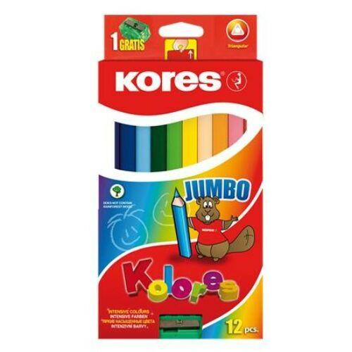 Kores Jumbo Színes ceruza készlet, háromszögletű, vastag, 12 szín