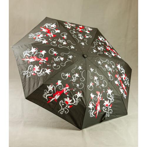 Virágmintás fekete esernyő
