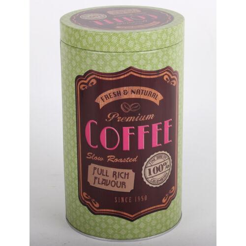 """Fém hengerdoboz """"Coffee"""" zöld színben"""