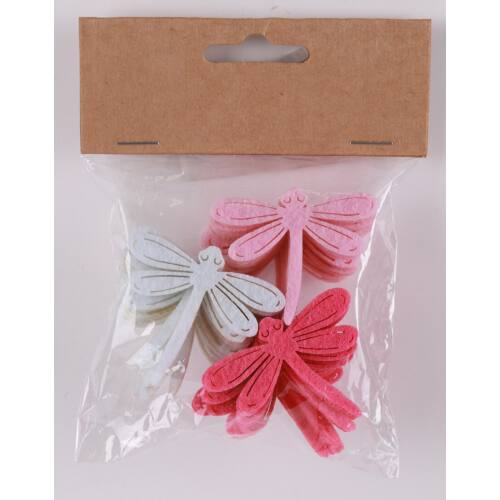 Dekorációs filc szitakötő 24 darabos rózsaszín