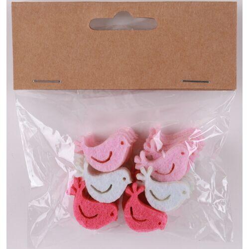 Dekorációs filc madár rózsaszín/fehér 36 darabos