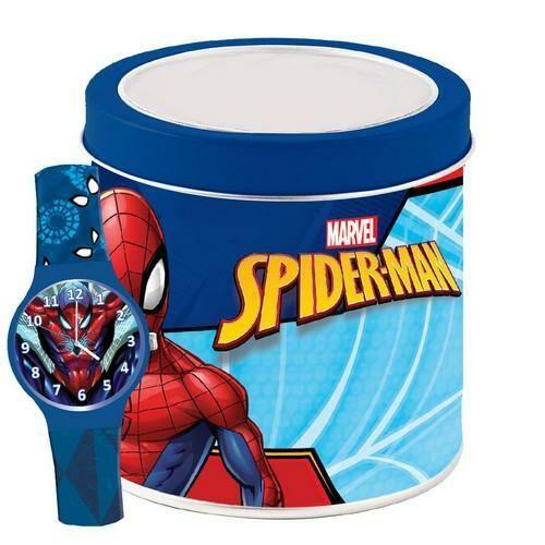 Pókember analóg karóra fém dobozban