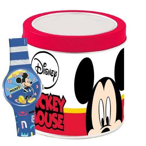 Mickey egér analóg karóra fém dobozban