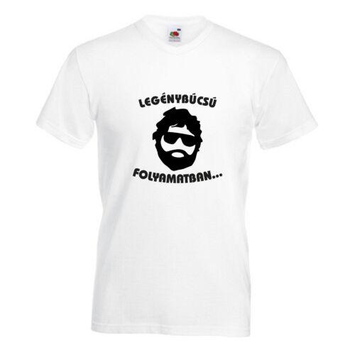 """Egyedi vicces fehér pamut póló """"Legénybúcsú folyamatban"""""""