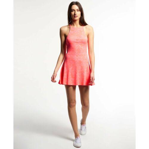 Superdry bordázott Swing női ruha korall piros