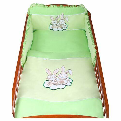 3-részes ágyneműhuzat New Baby Bunnies 100x135 zöld
