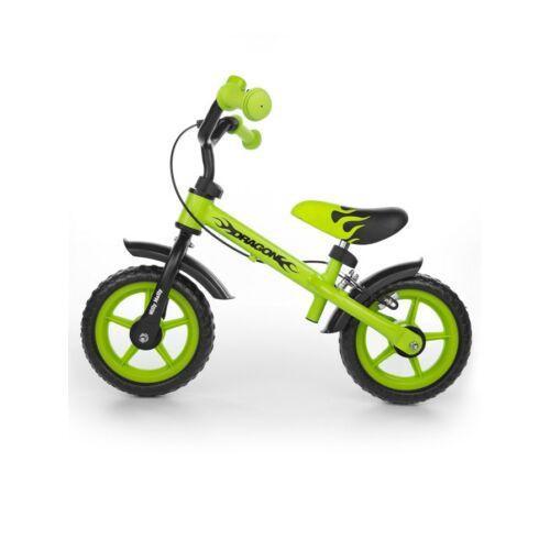 Gyerek futóbicikli Milly Mally Dragon fékkel  zöld