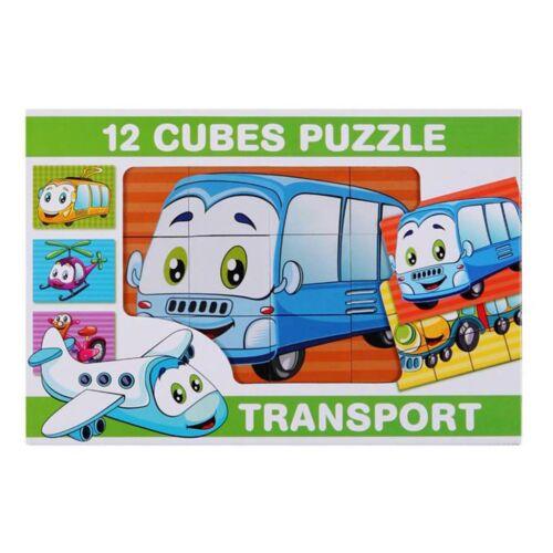 Képes kockakirakó 12 db közlekedés