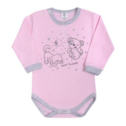 Csecsemő hosszú ujjú body (kombidressz) New Baby Barátok rózsaszín