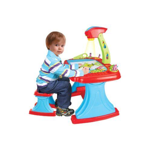 Gyermek kétoldalas tábla projektorral és székkel Bayo + 93 db tartalék