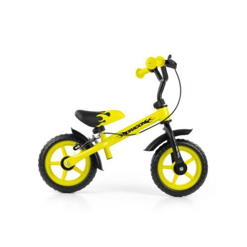 Gyerek futóbicikli Milly Mally Dragon fékkel sárga