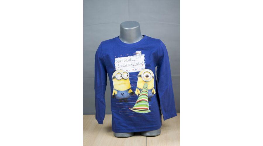 Fiú ruhák-Minnions kék hosszú ujjú fiú póló 56409b77ee